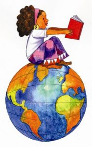 Graphic of girl reading on a globe